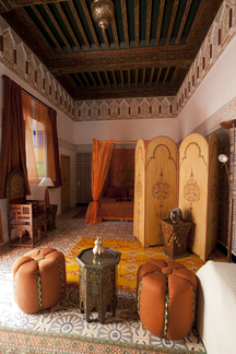 A wonderfully worked arabian bedroom.