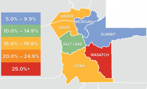 Map of counties in Utah